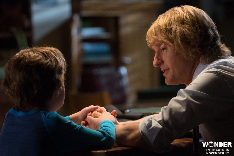 Auggie (Tremblay) and his dad (Wilson) have a heart-to-heart in Wonder. Twitter/@WonderTheMovie.