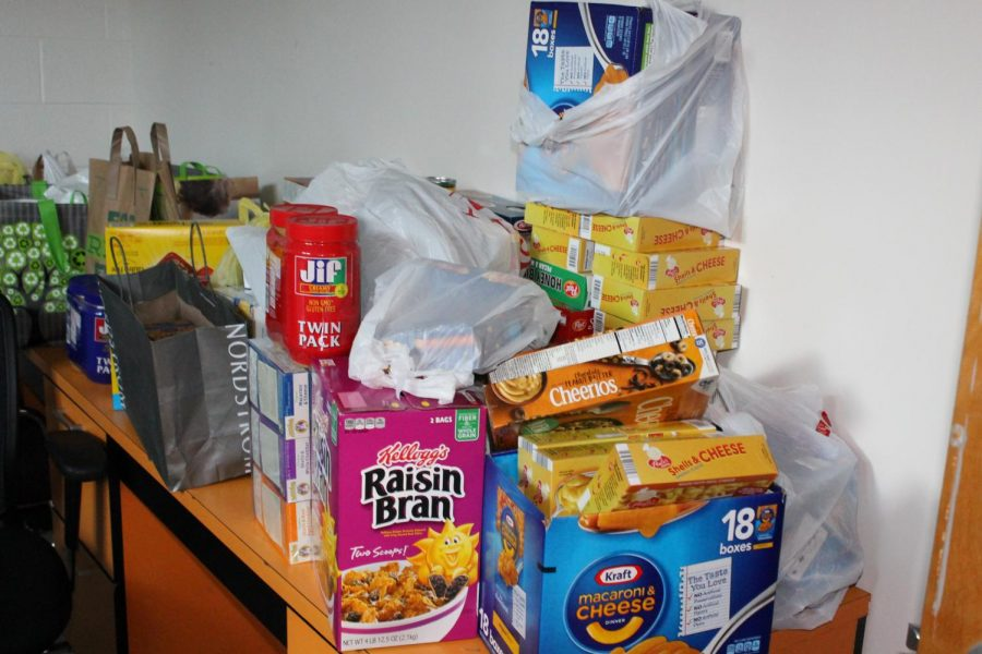 Donations pile up at the Humanities collection site. Photo courtesy of the Poolesville Pulse.