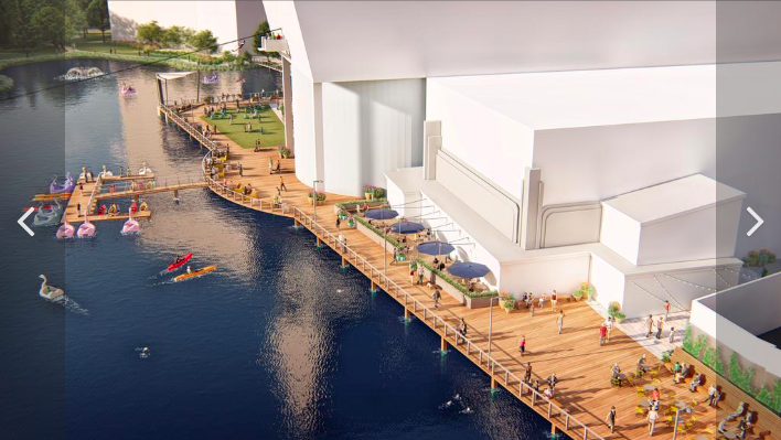 Computer generated model of projected updates to the Rio Washingtonian waterfront. Image courtesy of Peterson Cos.