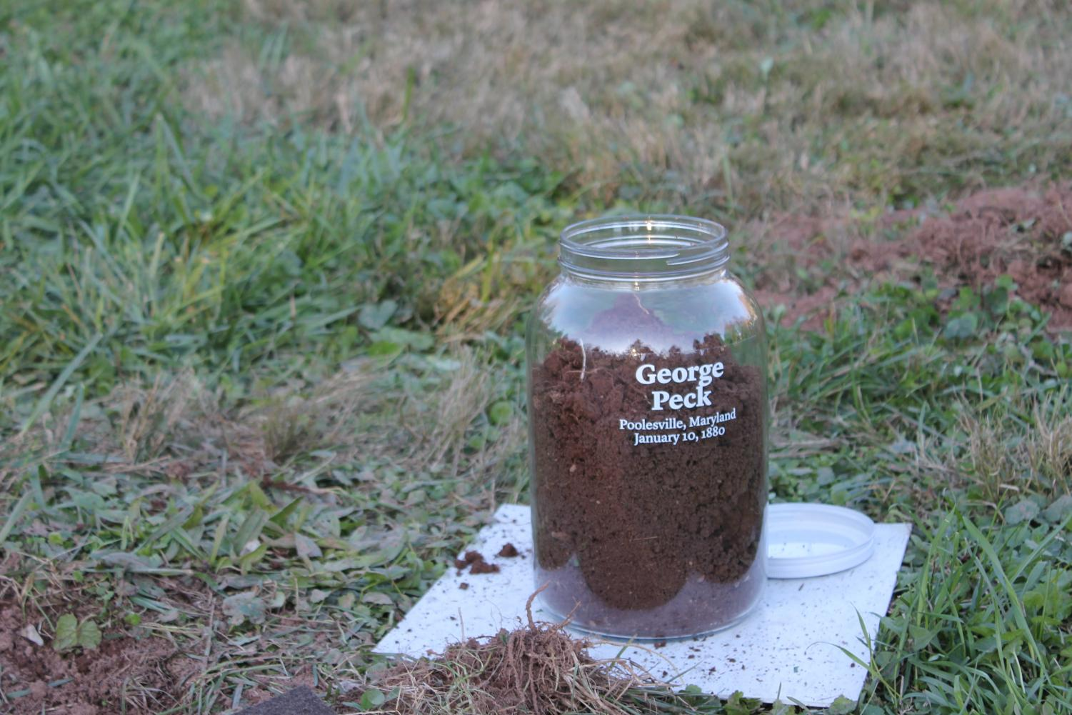 Soil collected from the site George Peck was lynched.