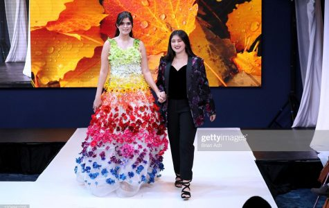 LaPointe with a model wearing one of her designs